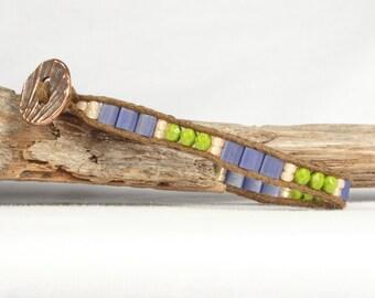 Square Tila bead bracelet, Single wrap bracelet, Blue olive green peach, CarolMade Sw89
