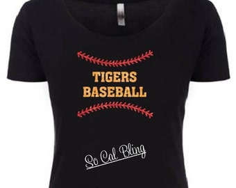 Tigers Baseball shirt made with glitter vinyl
