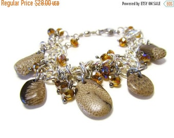 ON SALE Five Rare Lake Michigan Fossil Stone Charm Bracelet, 7+ Inch Silver Tone Link Chain, Crystal Charms, FANCY Fossils