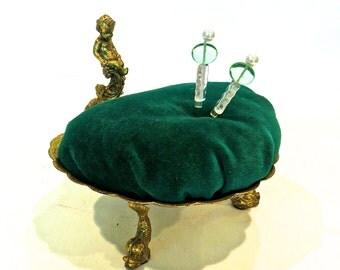 Brass Cupid, Pincushion, Green Velvet, Repurposed Vintage Vanity Dish, Sewing Gift