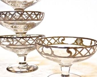 Antique Sterling Silver Overlay Sherbet Cups Set of 4/2 oz Crystal Stemware, Elegant Dining