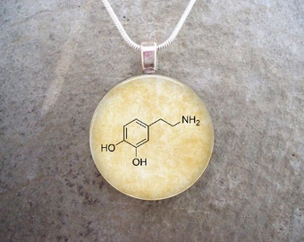 Chemistry Jewelry - Dopamine Molecule - Glass Pendant Necklace