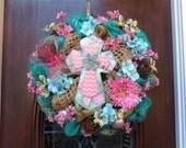 Soft Pastel Cross on Burlap and Mesh Wreath
