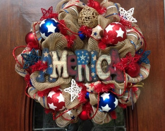 Khaki Patriotic Wreath with AMERICA Sign