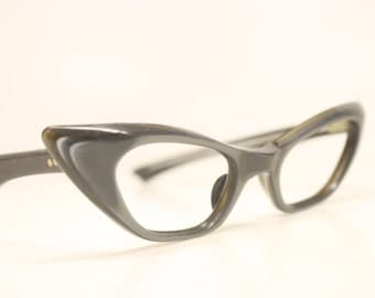 Gray Blue Unused Cat Eye Eyeglasses Vintage Eyewear Retro Glasses Cat Eye Frames