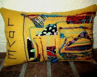 """Fiber Art Linen Love Pillow 10"""""""