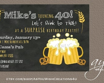 Cheers and Beers Birthday Party Invitation Printable Invitation Beers Invitation Chalkboard 30th Birthday 40th Birthday 50th Birthday Invite