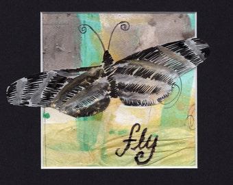Fly: Inspirational Butterfly Wall Art, Original Butterfly Wall Art, Inspirational Home Décor, Inspirational Mixed Media, ig011