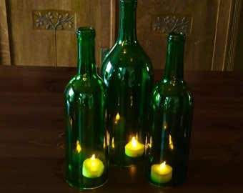 Wine Bottle Hurricanes Candles Set of 3 Green