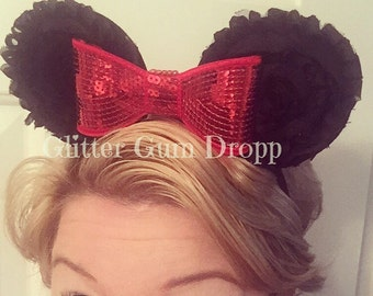Large Minnie Mouse Ears with Red Sequin Bow Elastic Headband or Satin 3 years old and up