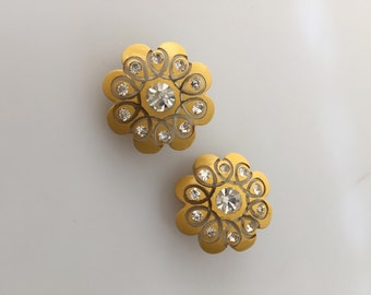 1950s Vintage Yellow CLIP ONs with RHINESTONE Accents JEWELED Earrings Painted Resin Vintage Clip Ons