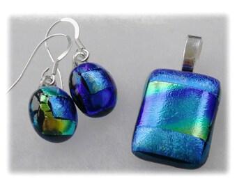 Pendant Earring Set Dichroic Glass 014 Jade Turquoise handmade fused