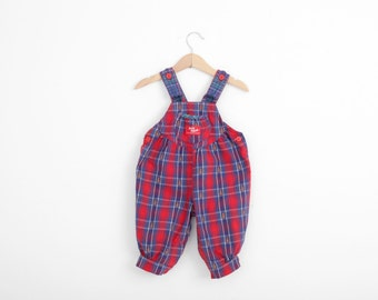 Vintage OshKosh Overall Dungarees in Plaid with Teddy Bears 6 to 9 months
