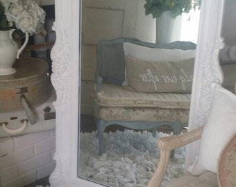 Gorgeous HUGE Ornate Vintage Mirror Wedding Photo Props Baby Nursery Shabby Chic Cottage Country French Decor