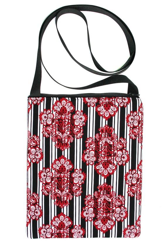 SALE! Red, black, stripes, Zipster, cross body bag, flat bag