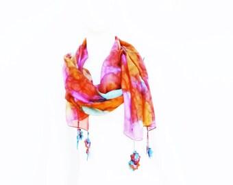 Scarf Silk Hand Painted Crochet Flowers
