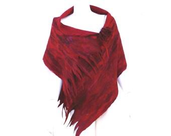 Red Wool Silk Wrap Nuno Felted