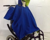 Adult, Teen, Child Wheelchair Poncho- Royal Blue with Lime Green Lining
