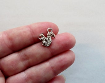 8 Little Squirrel Charms Small Forest Wildlife Animal Fall Silver Tone or Antique Silver Tone Squirrels Jewelry Supplies 15.5x13mm