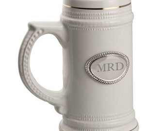 Monogrammed Ceramic Beer Stein