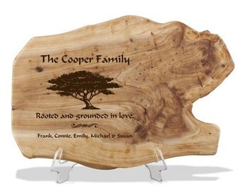Engraved Family Roots Fir Wood Plaque