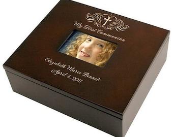 Engraved Wooden First Communion Keepsake Box