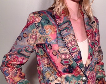 90s Southwest Crop Bolero Abstract Geometric Tapestry Jacket Size Small