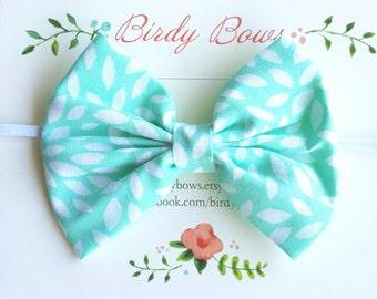Aqua with White Bow Headband, Baby Headbands, Baby Girl Headbands, Baby Girl Headbands, Infant Headbands, Baby Bows