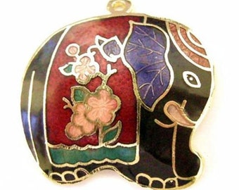 1pc Handmade 31x30mm Cloisonne Enamel Elephant Pendant-4825