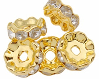 12pc 10mm gold finish rhinestone metal spacer/bead-5901Q
