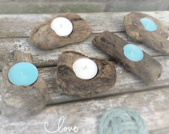 Driftwood Tea Light Holders, Driftwood Candle Holder, Driftwood Centre Pieces, Set of 5 pcs, Nautical Decor, Beach Wedding