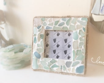"Sea Glass Photo Frame Nautical Beach Themed Home Decor 4x4"" Natural Picture Frame Shabby Chic Greys & Blues"