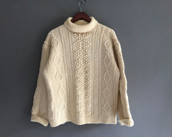 Heavy Wool Hand Knitted Fisherman Sweater