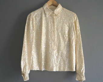 1960s Ivory Sequin Blouse