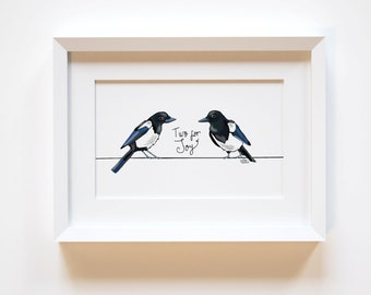 Two For Joy, Magpie Print, Magpie Illustration, Bird Print, Bird Art,Superstition Nursery Rhyme, Good Luck Gift, Home Decor,Anniversary Gift