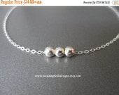 ON-SALE SALE - Tiny Sterling Silver Beads Necklace - Three Dot Beads, Dainty Sterling Silver, Minimalist Jewelry