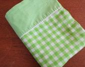 Vintage Sheet - Green Gingham - Twin or Single Flat Sheet