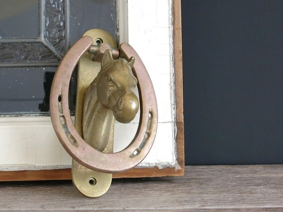 Vintage brass and copper horse head door knocker vintage - Horse head door knocker ...