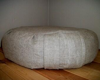 "Meditation Cushion. Zafu. Floor Pillow. UNFILLED Cover in a Natural Linen/Rayon Blend Slub Fabric. 15""x5"". 5"" Sidewall Zipper. Handmade, USA"