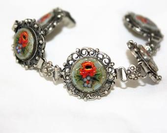 Vintage Micro Mosaic Bracelet, Italy Micro Mosaic, Vintage 1950s Jewelry