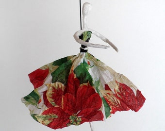 Dancing Paper Lady in Red and White Floral Dress