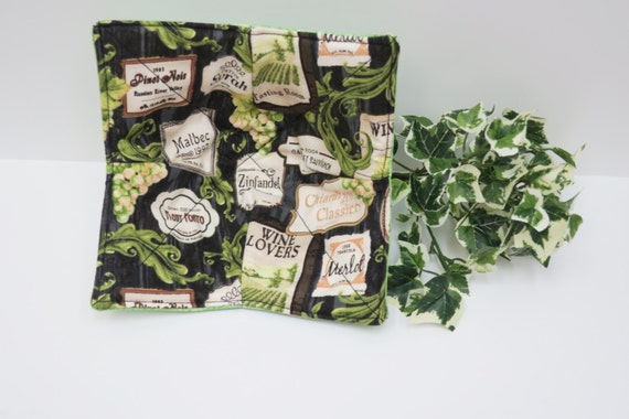 Wine Green Microwave Bowl Cozy Fabric Bowl Pot Holder Soup