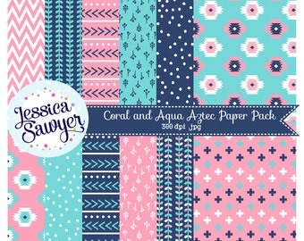 INSTANT DOWNLOAD, coral aqua and navy aztec digital papers or aztec pattern paper