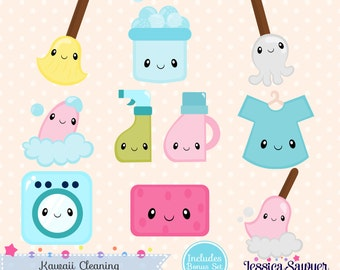 INSTANT DOWNLOAD - Kawaii Cleaning Clipart and Vectors for personal and commercial use