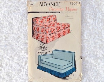 Vintage Advance 7606 A Sofa Cover Pattern Sectional Sofa With Right Arm