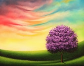 Original Oil Painting, Textured Canvas Impasto Tree Painting, Purple Tree Art, Colorful Landscape, Whimsical Art Dreamscape, 12x16