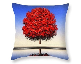 Red Tree Accent Pillow, Bedroom Pillow, Red Home Decor, Square Pillow, Contemporary Tree Art, Designer Couch Pillow, Modern Throw Pillow