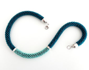 Teal Rope Necklace/Beaded Necklace/Mint Necklace/Statement Necklace/Gift Idea/Virtù n.22 (teal and mint version)