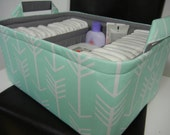 """Ex Large Diaper Caddy-14""""x 10""""x 7""""(CHOOSE Basket & Lining COLOR)Two Dividers-Baby Gift-Fabric Storage Organizer-""""Mint Arrow"""""""