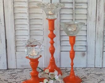 Orange Candlesticks w/Glass Flower-Shaped Tea Light Holders - Set of 3 Table Top